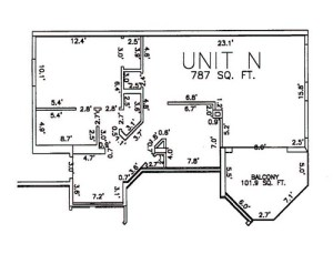 One Bedroom One Bath Unit N Floor Plan