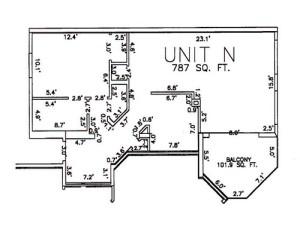 One Bedroom One Bath Unit N Floor Plan