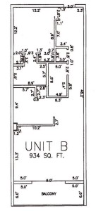 One Bedroom Two Bathroom Unit B Floor Plan