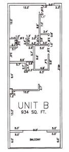 One Bedroom Two Bathroom Unit B Floor Plan