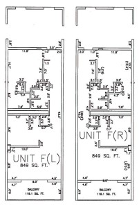 One Bedroom Two Bathroom Unit F Floor Plan