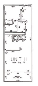 One Bedroom Two Bathroom Unit H Floor Plan
