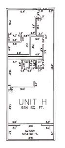 One Bedroom Two Bathroom Unit H Floor Plan