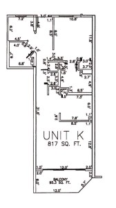 One Bedroom Two Bathroom Unit K Floor Plan
