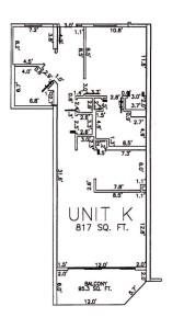 One Bedroom Two Bathroom Unit K Floor Plan