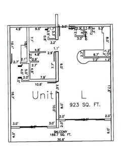One Bedroom Two Bathroom Unit L Floor Plan
