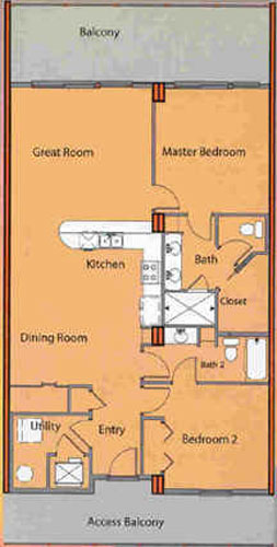 Two Bedroom Two Bathroom Bunk Area Floor Plan