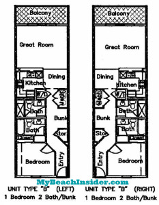 Type B  1 bedroom 2 bathroom floor plan