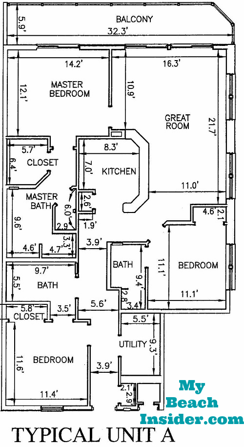 Calypso towers condo floor plans panama city beach florida for 3 bedroom unit floor plans