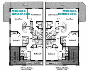 Unit A  3 bedroom 3 bathroom floor plan