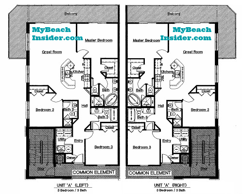 Celadon beach resort condo floor plans panama city beach for 3 bedroom unit floor plans