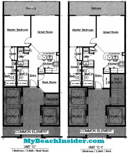 Unit C C-1  1 bedroom 2 bathroom bunk floor plans