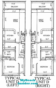 Unit D  1 bedroom 1 bathroom  bunk room floor plan