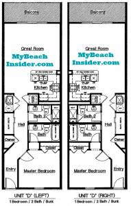 Unit D left right  1 bedroom 2 bathroom bunk room floor plan