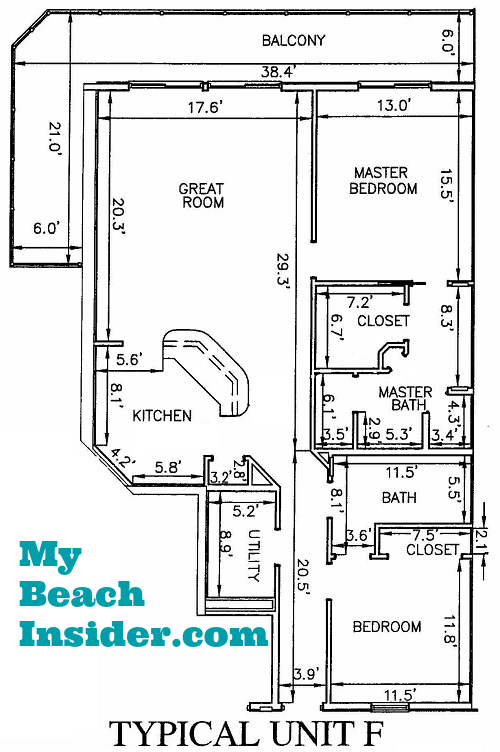 Unit F 2 Bedroom Bathroom Floor Plan