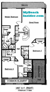 unit a-1 3 bedroom 3 bathroom floor plan