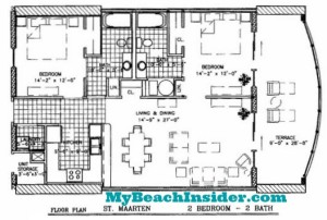 Two Bedroom Two Bathroom St Maarten Floor Plan MBI