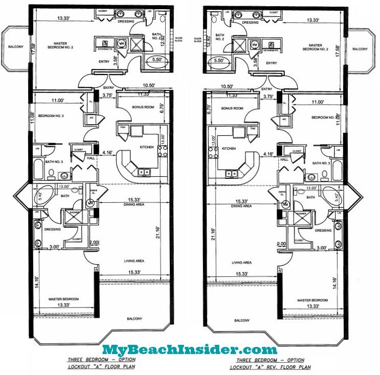 His And Her Bathroom Floor Plans | Boardwalk Beach Resort Floor Plans Panama City Beach Florida