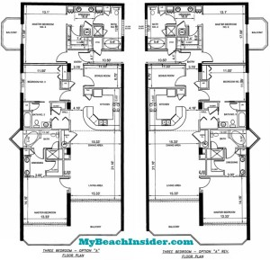 Unit A Three Bedroom Three Bathroom Floor Plans MBI