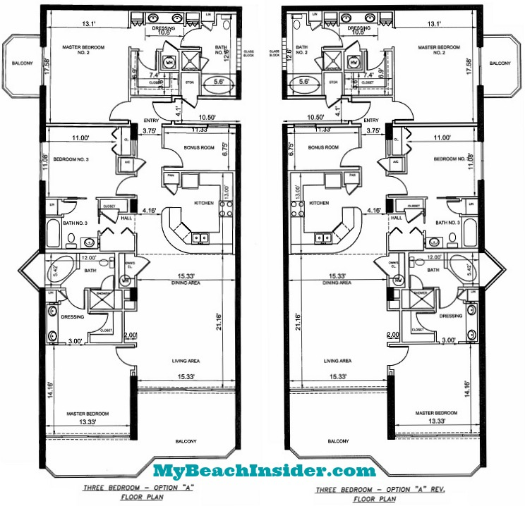 Boardwalk beach resort floor plans panama city beach florida for 3 bedroom unit floor plans