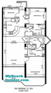 Unit A Two Bedroom Two Bathroom  Bunk Room Floor Plan MBI