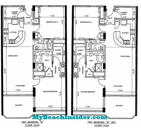 Boardwalk beach resort floor plans panama city beach florida for Two bedroom two bath floor plans