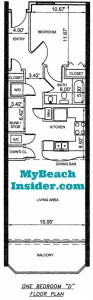 Unit D  One Bedroom One Bathroom Floor Plan MBI