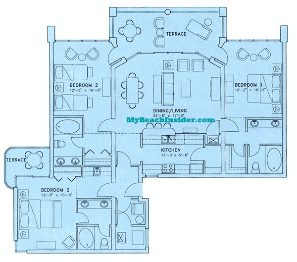 Long beach resort condo floor plans panama city beach for 3 bedroom beach house plans