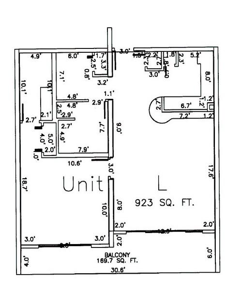 One Bedroom Two Bathroom Unit L Floor Plan