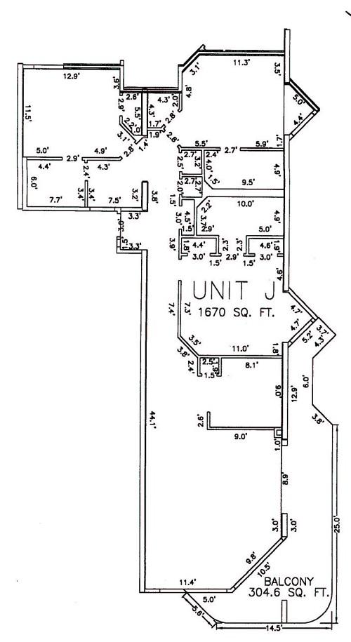 Three Bedroom Bathroom Unit J Floor Plan