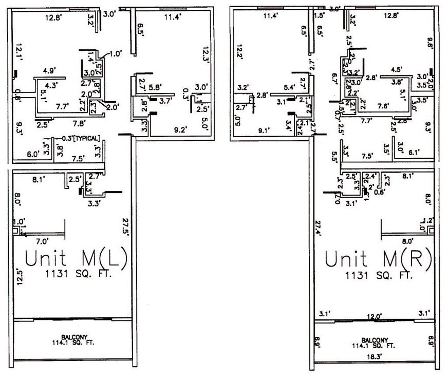 Two Bedroom Bathroom Unit M Floor Plan