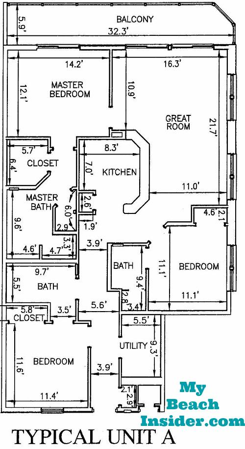 Unit A 3 Bedroom Bathroom Floor Plan