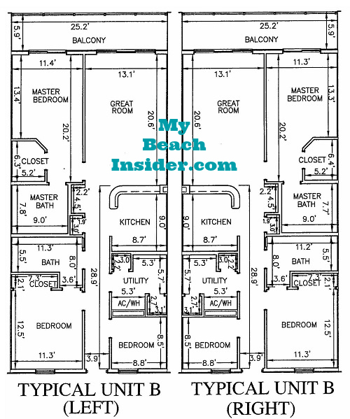 Unit B 2 Bedroom Bathroom Bunk Room Floor Plan