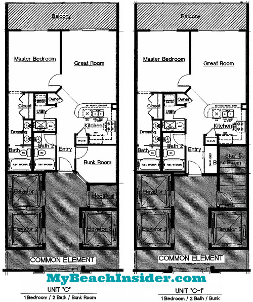 One Bedroom Two Bathroom With Bunk Area Floor Plans