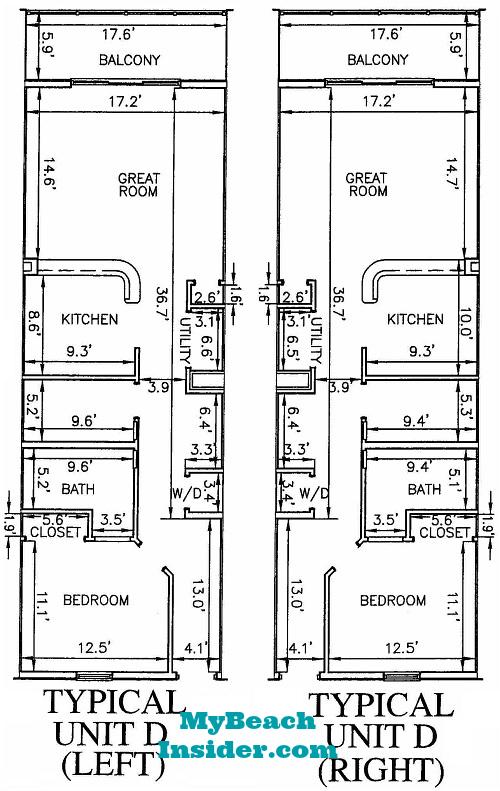 Unit D 1 Bedroom Bathroom Bunk Room Floor Plan