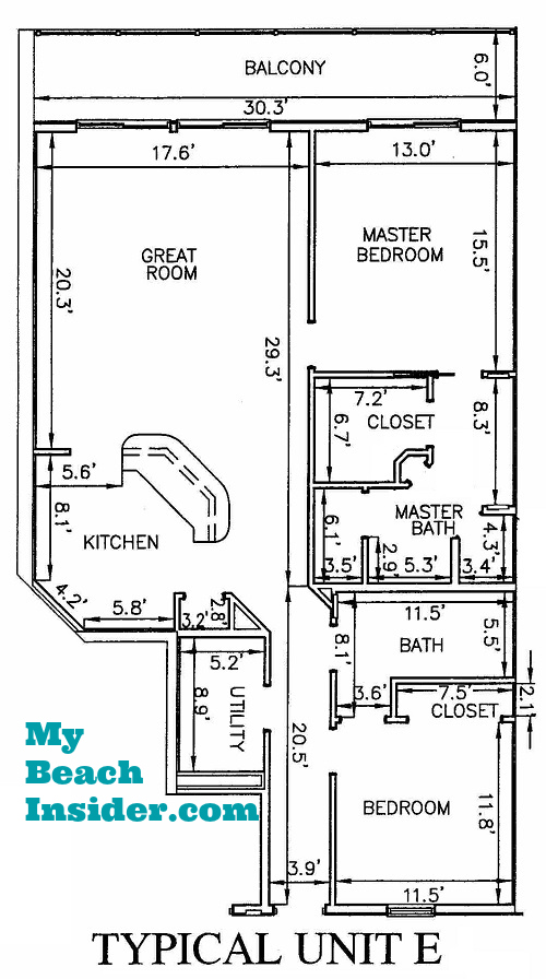 Unit E 2 Bedroom Bathroom Floor Plan